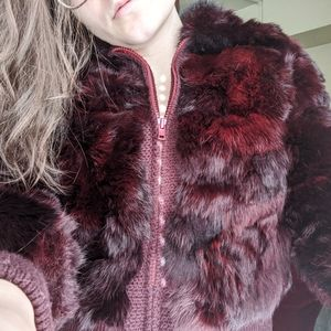 VINTAGE Authentic Dyed Rabbit Fur Bomber Jacket